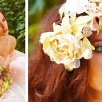 И букет, и цветы для прически невесты одного сорта и оттенка