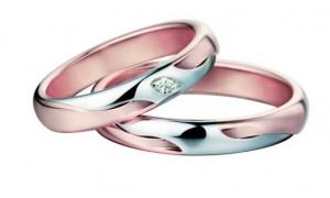 Обручальные кольца из розового золота с платиной и алмазами