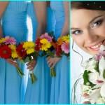 Голубые платья и пестрые яркие букеты
