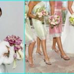 К бледно-оливковым платьям - розовые оттенки букетов