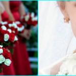 Красные платья - белые букеты подружек
