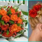 И свадебный букет из красных роз