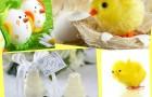 Рассади цыплят рядом со свадебными свечами