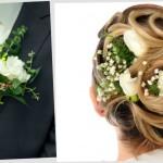 Прическа невесты и бутоньерка жениха