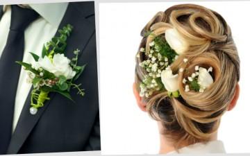 Цветы в прическе невесты и бутоньерка: 8 смелых сочетаний