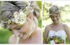Зеленый свадебный венок невесты
