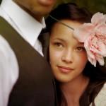 Обруч с цветком для свадебной прически