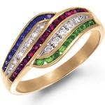 Кольцо золотое c изумрудами, бриллиантами, рубинами, сапфирами