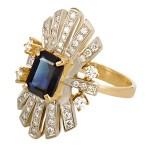 Кольцо с якутскими бриллиантами и сапфиром из золота