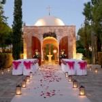 Свадьба с дорожкой из фонарей