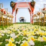 Выездная церемония с дорожкой из желтый цветов