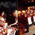 Сочетание красных и желтых свечей