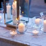 Украшение свечами в стеклянной посуде