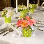Свадебные цветы, украшенные зеленью