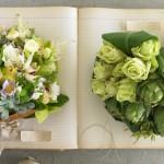 Зеленые свадебные букеты с розами