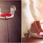 Свадебные туфли с яркими сердечками