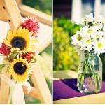 Подсолнухи и ромашки в оформлении свадьбы