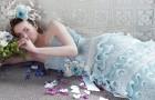 Шикарное голубое платье невесты