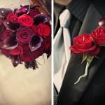 Букет и бутоньерка в красном, черном и белом цвете