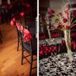 Банкетный зал в красном, черном и белом цвете