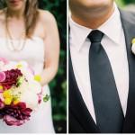 Букет и бутоньерка из круглых цветов