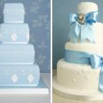 Соетание голубого и белого в свадебном торте