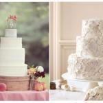 Свадебный торт с узором из белоснежных цветов