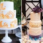 Узоры в желтых тонах для свадебных тортов