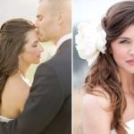 Прическа невесты, украшенная белым бантом