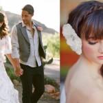 Белые цветы в волосах на выездной свадьбе