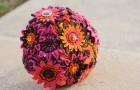 Pink Brown and Orange Felt Embroidered Bridal Bouquet