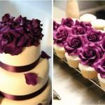 Свадебный торт в пурпурных тонах