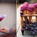 Пурпурное мороженое и пурпурные напитки
