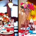 Цветочные композиции в красных тонах в свадебном декоре