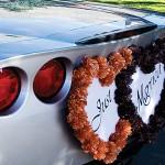 Сердца черных и оранжевых цветов для свадебного авто