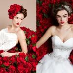 Красные губы создают эффектный контраст с белоснежным платьем