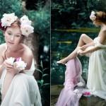 Невеста с цветочными заколками в волосах