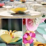 Бумажные цветы на столах