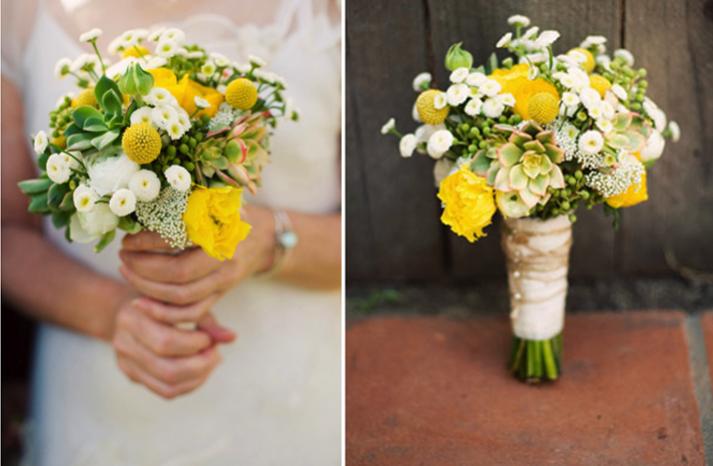Свадебный букет желто-белый