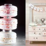 Свадебные кольца и розовые пирожные