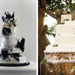 Асимметричные свадебные торты украшенные цветами