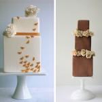Свадебные торты кубической формы с цветами