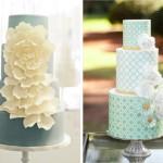 Свадебные торты голубых тонов украшенные цветами