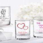 Бонбоньерки в виде стеклянных стаканчиков с именами