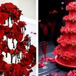 Красные свадебные торты с лепестками роз