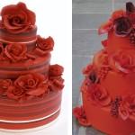 Красный свадебный торт с красными розами