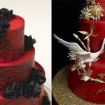 Красный свадебный торт с объемным декором