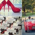 Красные туфли и красный автомобиль для свадьбы