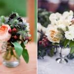 Милые букетики из цветов и ежевики
