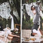 Свадебный пикник для двоих в окружении фотографий